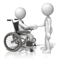 Person in wheelchair shaking hands with person standing up