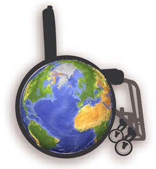 Image of the Earth superimposed on the wheel of a wheelchair